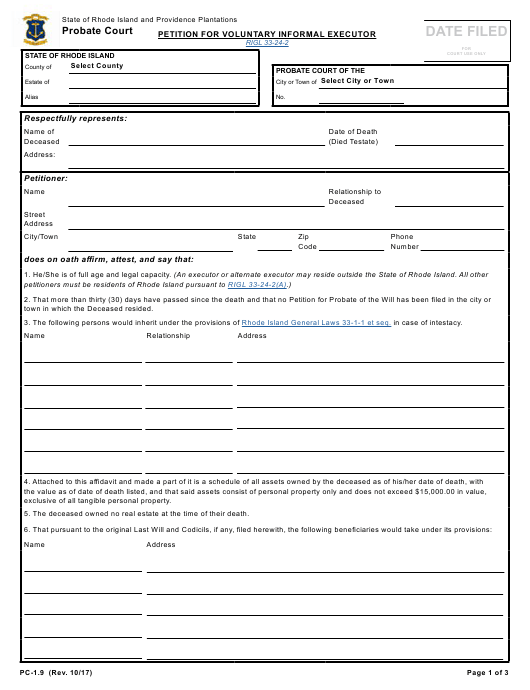 Form PC 1 9 Download Fillable PDF Or Fill Online Petition